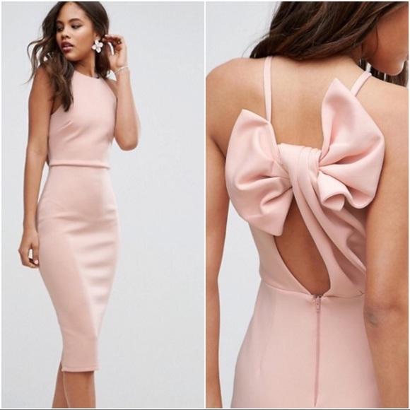 ASOS Dresses & Skirts - ASOS Pink Blush Bow Scuba Pencil Slit Midi Dress